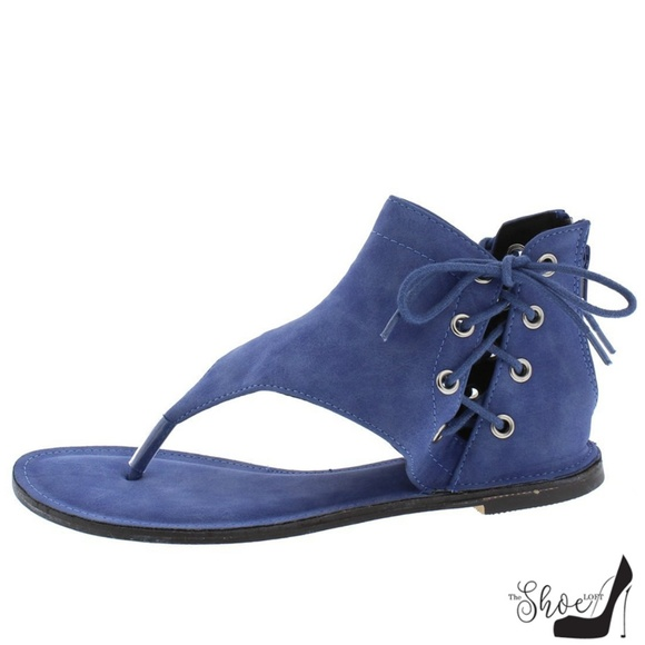 The Shoe Loft Shoes - Bell Blue Ankle Wrap Gladiator Thong Sandals